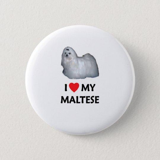 I Liebe mein maltesisches Runder Button 5,7 Cm