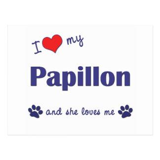 I Liebe mein Papillon (weiblicher Hund) Postkarte