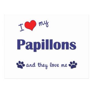 I Liebe mein Papillons (mehrfache Hunde) Postkarte