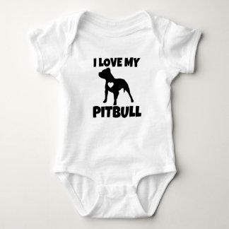 I Liebe mein Pitbull Hundebaby-Shirt Babybody
