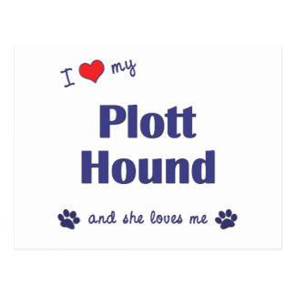 I Liebe mein Plott Jagdhund (weiblicher Hund) Postkarte