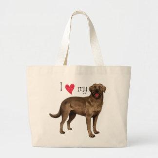 I Liebe mein Schokoladen-Labrador Jumbo Stoffbeutel
