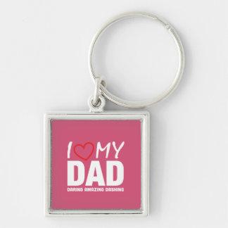 I Liebe mein Vati - VatertagSpecial Silberfarbener Quadratischer Schlüsselanhänger