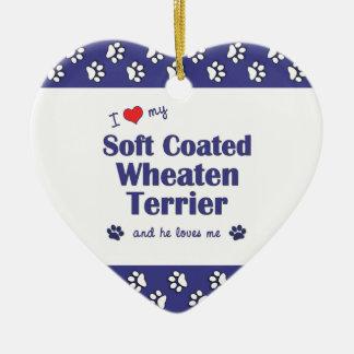 I Liebe mein weicher überzogener Wheaten Terrier Keramik Herz-Ornament