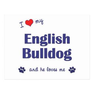 I Liebe meine englische Bulldogge (männlicher Postkarte