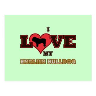 I Liebe meine englische Bulldogge Postkarte