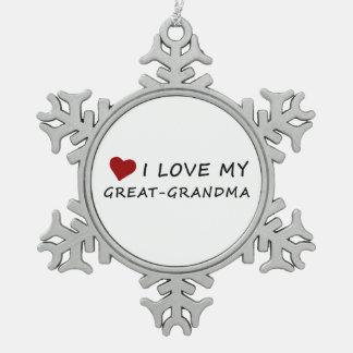 I Liebe meine Groß-Großmutter mit Herzen Schneeflocken Zinn-Ornament