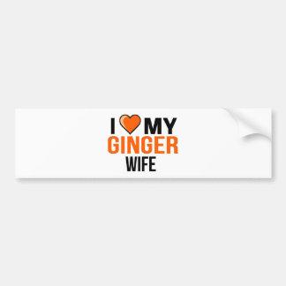 I Liebe meine Ingwer-Ehefrau Autoaufkleber