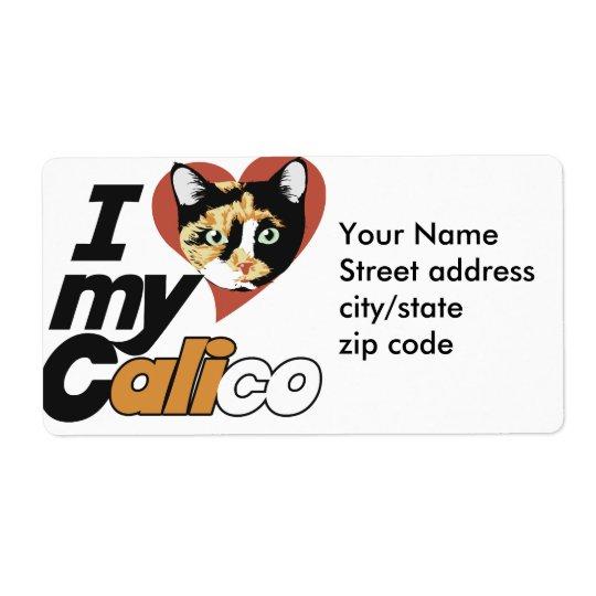 I Liebe meine KALIKO-Katze Großer Adressaufkleber