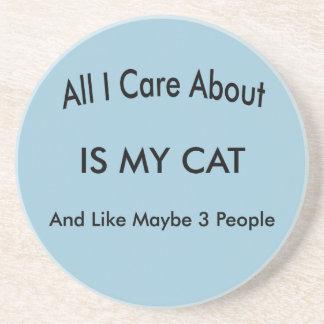 I Liebe meine Katze Sandstein Untersetzer