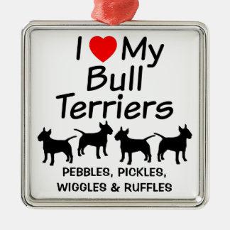 I Liebe meine vier Stier-Terrier-Hundeverzierung Quadratisches Silberfarbenes Ornament