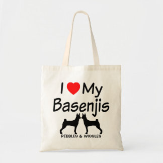 I Liebe meine ZWEI Basenji Hunde Budget Stoffbeutel