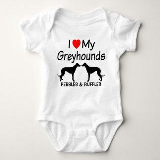 I Liebe meine ZWEI Windhund-Hunde Baby Strampler