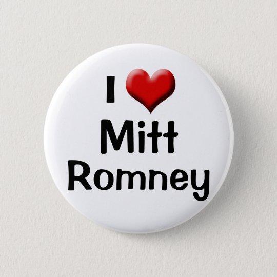 I Liebe Mitt Romney, roter Herz-Knopf Runder Button 5,7 Cm