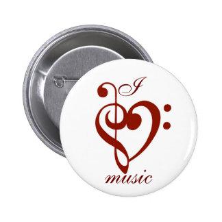 I Liebe-Musik-Button Runder Button 5,7 Cm