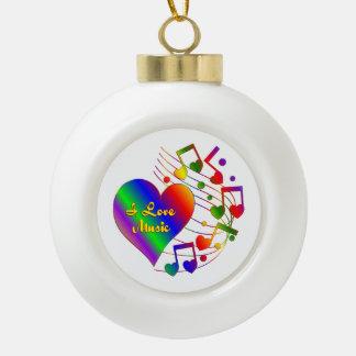 I Liebe-Musik-Herz Keramik Kugel-Ornament