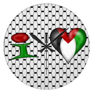 I Liebe Palästina Große Wanduhr