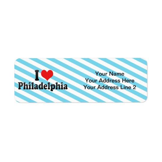I Liebe Philadelphia Rückversand-Adressaufkleber