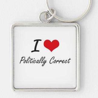 I Liebe politisch korrekt Silberfarbener Quadratischer Schlüsselanhänger