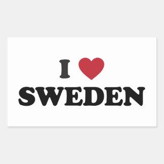 I Liebe Schweden Rechteckiger Aufkleber