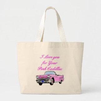 I Liebe Sie für Ihren rosa Vintagen 50er Cadillacs Jumbo Stoffbeutel