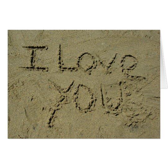I Liebe Sie geschrieben in Sand Grußkarte