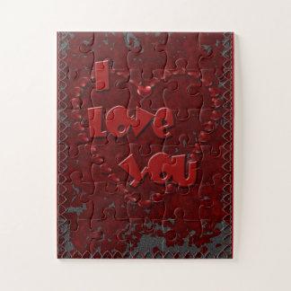 I Liebe Sie Herzen über sortiertem Stück-Puzzlen