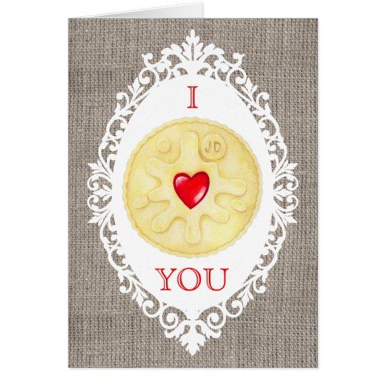 I Liebe Sie Jammy Dodger-Keks-Gruß-Karte Karte