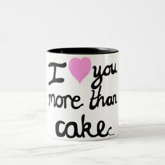 I Liebe Sie mehr als Kuchen-Tasse Zweifarbige Tasse