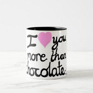 I Liebe Sie mehr als Schokoladen-Tasse Zweifarbige Tasse