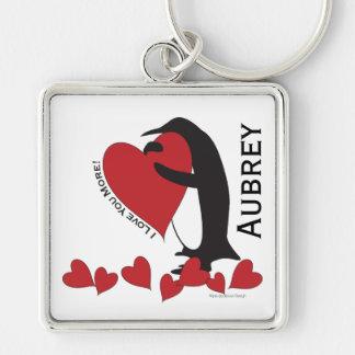 I Liebe Sie mehr! - Penguin-rote Herzen Schlüsselanhänger