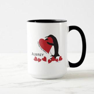 I Liebe Sie mehr! - Pinguin und roter Herz-Name Tasse