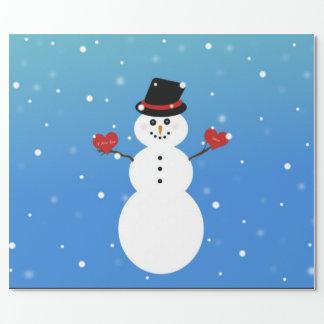 I Liebe Sie mehr Snowman Geschenkpapier