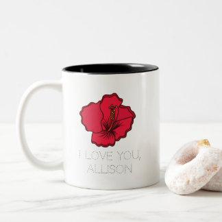 I Liebe Sie personalisierte Blumen-Ehefrau oder Zweifarbige Tasse