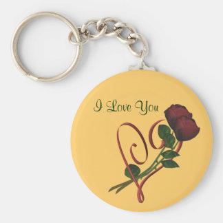 I Liebe Sie Rosen-Rot-Herz Schlüsselanhänger