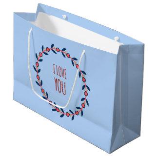 I Liebe Sie Rot und blauer Wreath Große Geschenktüte