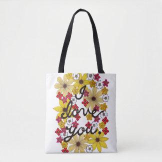 I Liebe Sie Typografie mit gelben Blumen Tasche