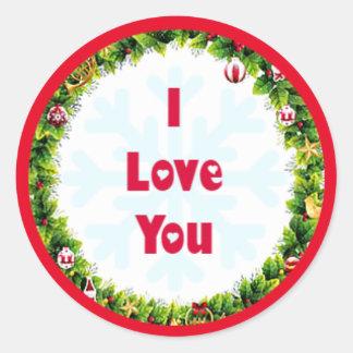 I Liebe Sie Weihnachten Runder Aufkleber