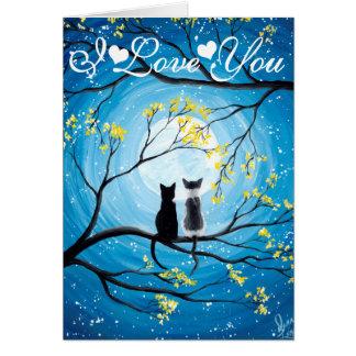 I Liebe Sie wunderlicher Mond mit Katzen Karte