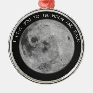 I Liebe Sie zum Mond-und Rückseiten-Starry Himmel Silbernes Ornament