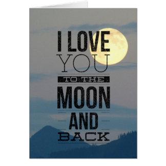 I Liebe Sie zum Mond und zur hinteren Karte