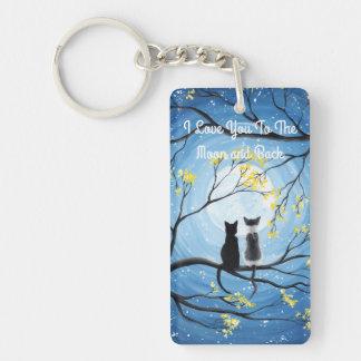 I Liebe Sie zum Mond und zur hinteren Katze Schlüsselanhänger