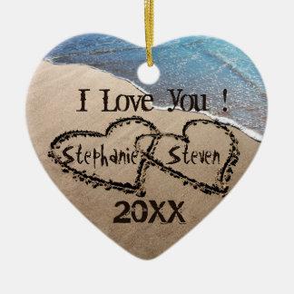 I Liebe Sie! Zwei Herzen in der Keramik Ornament
