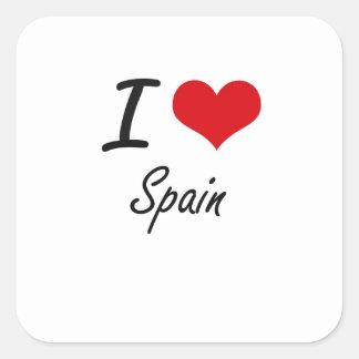 I Liebe Spanien Quadratischer Aufkleber