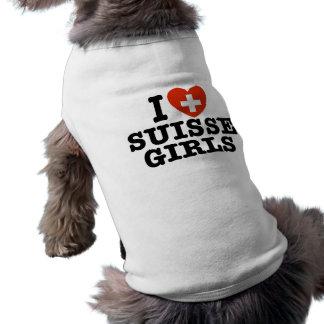 I Liebe Suisse Mädchen Ärmelfreies Hunde-Shirt