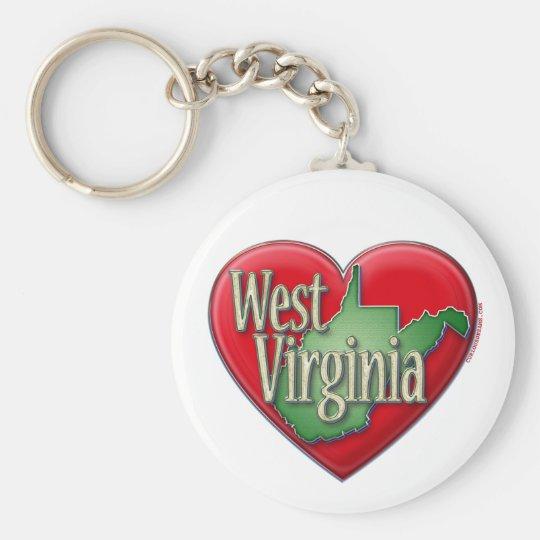 I Liebe West Virginia Standard Runder Schlüsselanhänger