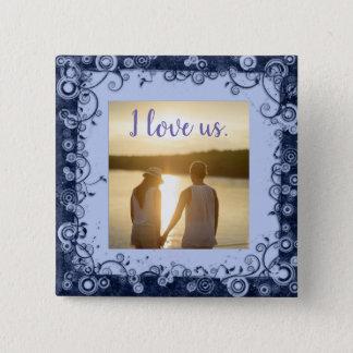 I Liebe wir Foto-lila Rahmen-Quadrat-Knopf Quadratischer Button 5,1 Cm