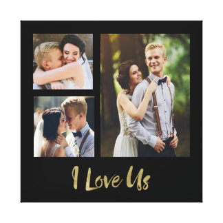 I Liebe wir Goldskript-Hochzeits-Leinwand Leinwanddruck