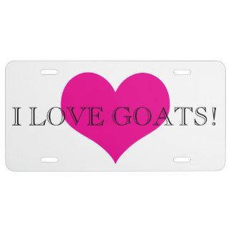 I Liebe-Ziegen-rosa Herz US Nummernschild