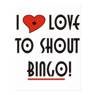I Liebe, zu schreien BINGO Postkarte